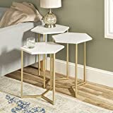 WE Furniture Modern Hexagon Nesting Side End Table Set Living Room, Set Of 3, White Marble, Gold