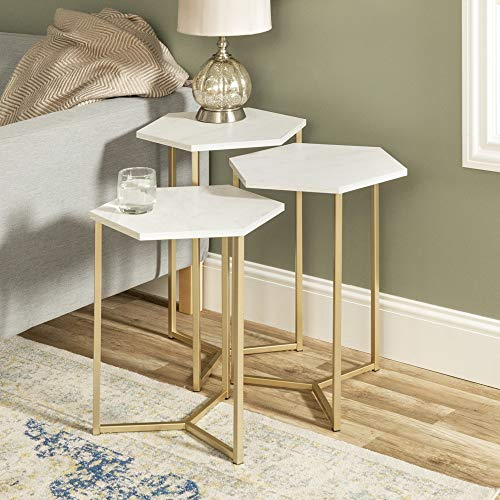 Walker Edison Modern Hexagon Nesting Side End Table Set Living Room, Set Of 3, White Marble, Gold, Side Table (AF16HEX3WM)