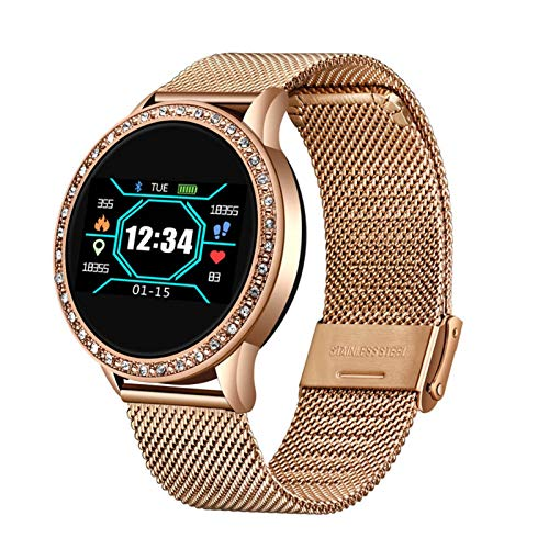 GYY Neue Damen Smart Watch Edle Diamantuhr wasserdichte Sport Fitness Tracker Herzfrequenz Blutdruck-Schrittzähler Smartwatch + Box (Color : Mesh Belt golden)