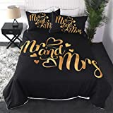 Sleepwish Luxury French Bedding Sets His and Her Duvet Cover King and Queen Comforter Cover for Couple 3 Piece Gold Glitter Bedspreads Romantic Valentines Presents (Mr and Mrs Letter, Queen, Zipper)