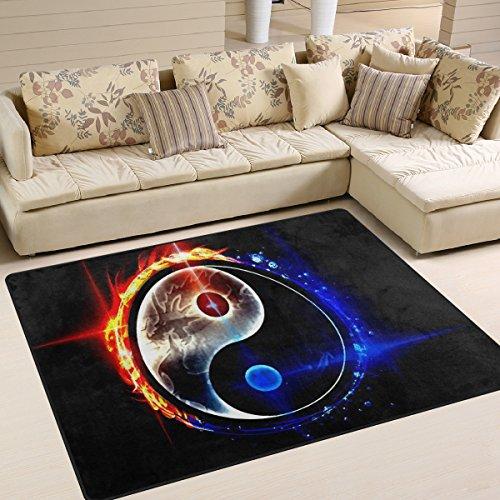 INGBAGS Teppich im Design: Chinesischer Drache Tai Bagua, Ying Yang, modern, superweich, für Wohnzimmer, Schlafzimmer, Kinderspielzimmer, dekorativer Teppich, 160 x 122cm, multi, 80 x 58 Inch