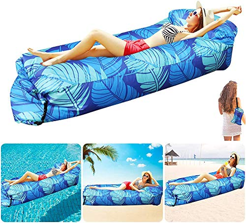 Ydq Inflatable Lounger - Mattress Portable Air Couch Banana Leaf Chair - Sofa Hammock with Storage Waterproof for Beach Pool Travelling Camping Hiking Party Park Picnic Backyard Parties,Blue