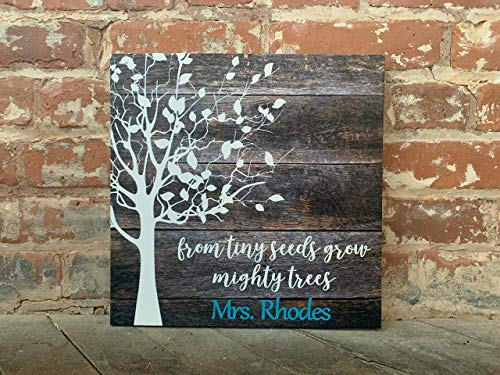Teacher Appreciation Gift, From Tiny Seeds Grow Mighty Trees, Custom Canvas, Personalized With Teacher Name, Perfect Present For...