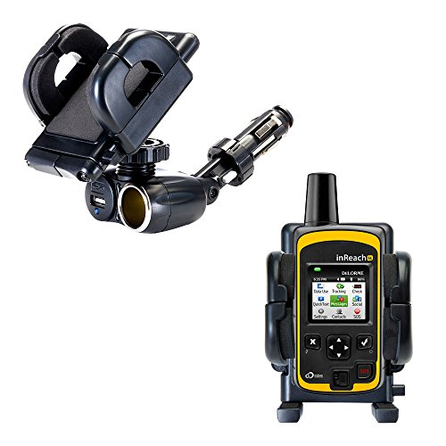 Unique Auto Cigarette Lighter and USB Charger Mounting System Includes Adjustable Holder for The Delorme inReach SE