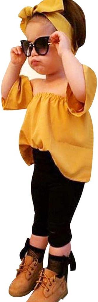 Efaster Toddler Kids Baby Girl Off Shoulder T-Shirt Tops Pants Headband Clothes Set 1-6 Months