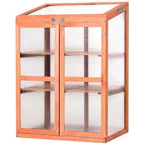 """Outsunny Small Mini Wooden Cold Frame Greenhouse Outdoor Indoor Planter Box, 30"""" L x 24"""" W x 43"""" H"""