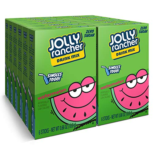 Jolly Rancher Singles To Go Powdered Drink Mix, Watermelon, 12 Boxes with 6 Packets Each - 72 Total Servings, Sugar-Free Drink Powder, Just Add Water, 0.66 Ounce (Pack of 12)