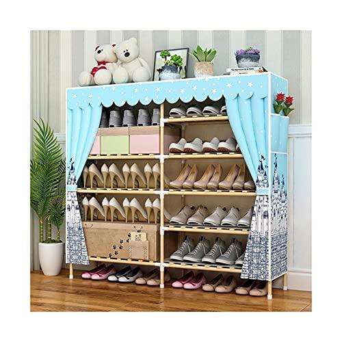 HYAN Zapatero Rack de Zapatos Portátil Portátil Persalte Doble Fila Estante de Almacenamiento Organizador Gabinete con Cubierta de Tela no Tejida para Armario Caja de Zapatos (Color : E)