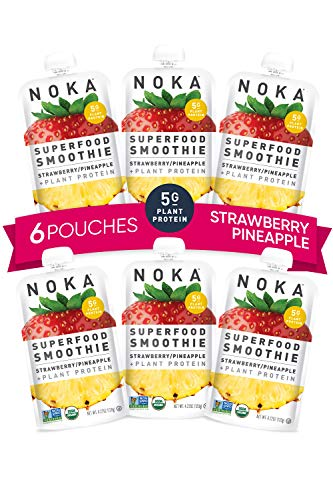 NOKA Superfood Smoothie Pouches (Strawberry Pineapple) 6 Pack | 100% Organic Healthy Fruit And Veggie Squeeze Snack Packs | Meal Replacement | Non GMO, Gluten Free, Vegan, 5g Plant Protein | 4.2oz Each
