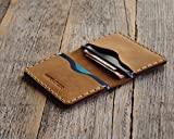 PERSONALIZED Leather Wallet. Tan Brown and Blue Credit Card, Cash or ID Holder. Rustic Style Unisex Pouch. Monogram your Name or Initials Be the first to review this item
