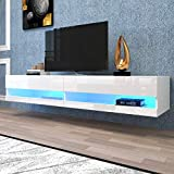 jeerbly 71 Inch TV Stand Cabinet Wall Mounted Floating Television Stand up to 80' TVs with 20 Color LEDs White Modern High Gloss Storge Shelf Entertainment Center Console Table for Living Room
