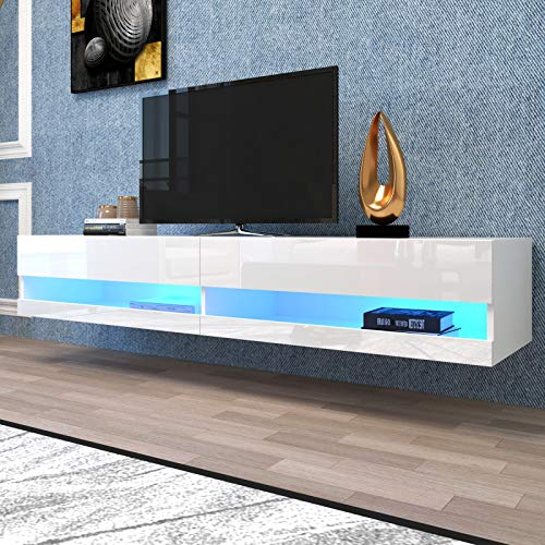 """jeerbly 71 Inch TV Stand Cabinet Wall Mounted Floating Television Stand up to 80"""" TVs with 20 Color LEDs White Modern High Gloss Storge Shelf Entertainment Center Console Table for Living Room"""