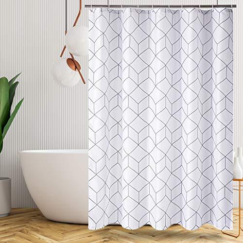 Caudblor Duschvorhang, Polyester, Anti-Schimmel, Wasserabweisend, mit 12 Duschvorhängeringen, 180x180CM (Weiß Würfel)