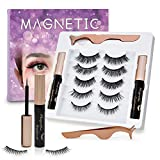 UNIWIN Magnetic Eyelashes with Eyeliner, Magnetic Eyeliner and Magnetic Eyelashes Kit, 5 Pairs Reusable 3D Natural Look, False Lashes Magnetic with Tweezers (No Glue Needed)