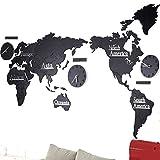 Benfa Reloj De Pared Creativo De Moda Mapamundi De Madera 3D Europeo Sala De Estar Grande Dormitorio De Oficina Reloj De Etiqueta De Pared Decorativo (Longitud 220Cm * Altura 105Cm),#3,A