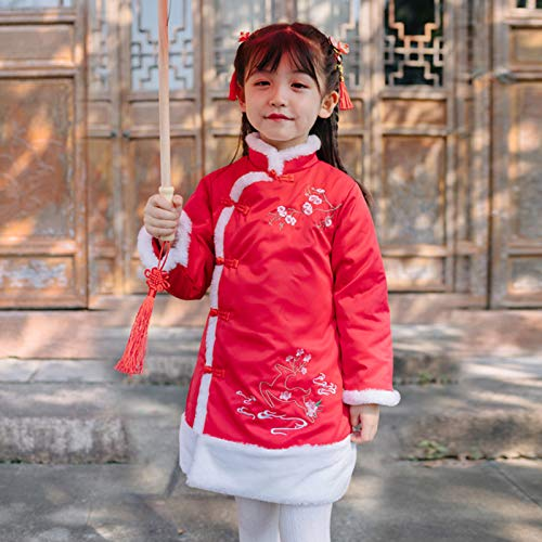 HINK Baby Girl Outfits,Toddler Baby Girls Long Sleeve New Year Cheongsam Princess Dress+Satchel Bag Set Red,Girls Outfits & Set