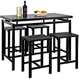 Goujxcy 5-Piece Counter Height Dining Set, Contemporary Wooden Dining Table Set, Modern Pub Table and Chairs Kitchen Counter Height Table Set with 4 Chairs Perfect for Home/Hotel/Bar (Espresso)