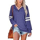 FMYONF Damen Oversized Sweatshirt Langarm Henley Shirt Freizeit Rundhals Pulli Jumper T Shirts...