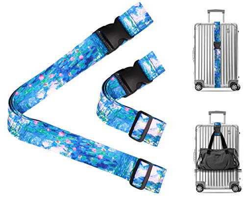 Claude Monet Water Lilies 1917 Travel Luggage Strap Suitcase Security Belt. Heavy Duty & Adjustable. Must Have Travel Accessories. TSA Compliant. 1 Luggage Strap & 1 Add A Bag Strap. 2-Piece Set.