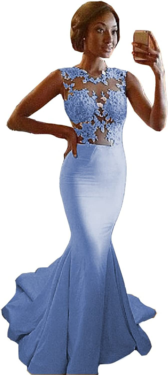Ai Maria Women's Mermaid Appliques Sheer Lace Prom Dresses