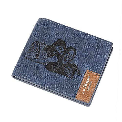 Cartera grabada personalizada, cartera de fotos personalizada para hombres, marido, papá, hijo, regalo único., azul mate, Large