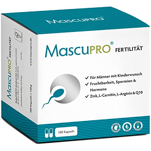 MascuPRO® Fertilität Mann - Fruchtbarkeit + Spermienproduktion - 180 Kapseln - L-Arginin, L-Carnitin, Folsäure - Kinderwunsch Mann Tabletten