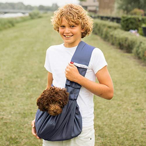 4LazyLegs PET Carrier Pocket Canvas Hundetragebeutel XS, blau