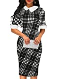 oxiuly Women's Vintage Black White Plaid Patchwork Stretch Bodycon Pencil Sheath Dress for Work Business Party Cocktail Dresses OX276 (XL, Black Plaid)