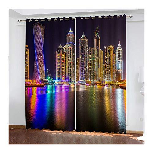 KnSam – 2 cortinas de poliéster 98% de luz, para bloquear la luz, con ojales, 214 x 160 cm, multicolor
