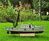 HSJWOSA Adornos Modelo Escala 1/25 RC Barco de Pesca Control Remoto Barco de Madera SC Modelo Kit Modelo Florido.