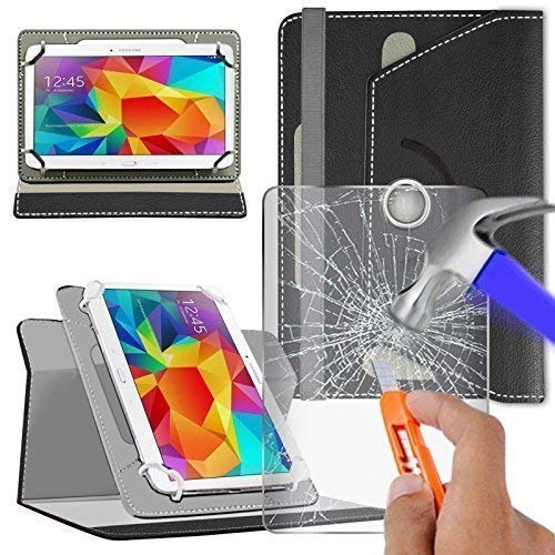 N4U Online - Black Glass Protector & Rotating PU Leather Case For Vodafone Tab Speed 6 Tablet