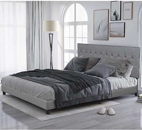 LXZWAN Wood Platform Bed Frame King Size with Rectangular Headboard and Slat Support, Upholstered Fabric, Box Spring Needed, U.S.A Local Stocks, Fast Delivery (Size : King)