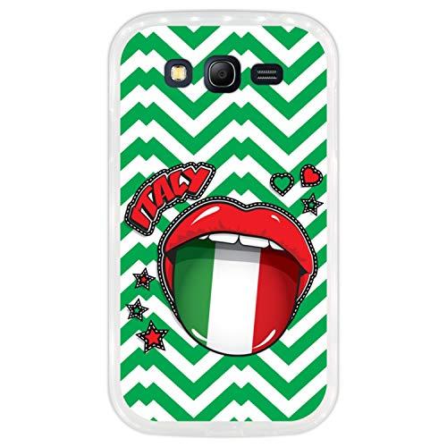 Telefoonhoesje voor [ Samsung Galaxy Grand Neo - Neo Plus ] tekening [ Vlag van Italië, Pop-art Sexy rode lippen ] Transparant TPU flexibele siliconen schaal
