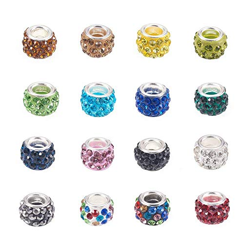 Craftdady 100Pcs Random Mixed Color Polymer Clay Large Hole European Beads with Rhinestone 11-12x7-7.5mm Rondelle Slide Bead Spacers for DIY Snake Chain Charm Bracelet Making 5mm Big Hole