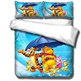 SSLLC Winnie the Pooh 3-Piece Bedding Set with Microfibre Duvet Cover, Gift for Children, 3D Print, Full Size, Suitable for Four Seasons (C07, Single 135 x 200 cm)