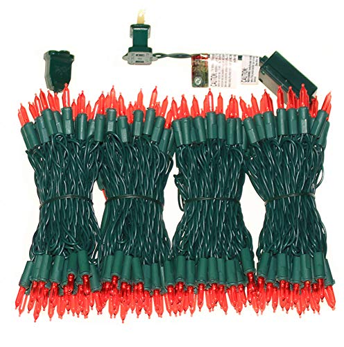 200 LED Red Christmas Lights, UL Certified Commercial Grade Green Wire Always On Light Set 66 Feet, for Indoor Outdoor Party, Festivals, Garden, Patio.