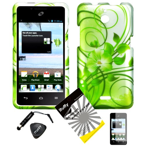 4 items Combo: ITUFFY LCD Screen Protector Film + Mini Stylus Pen + Case Opener + Silver Green Vine Hawaiian Flower Design Rubberized Snap on Hard Shell Cover Faceplate Skin Phone Case for Huawei VALIANT Y301 / Straight Talk Huawei Ascend Plus H881C