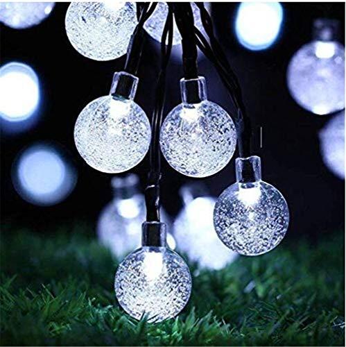ZCSSDCB LE Solar L ichterke tte,4.5 Meter 30er Kristall Kugeln Tageslicht weiß Wasserdicht Auße rlichterkette D EKO,für Garten Bäume T errass Hochzeiten Partys Innen und außen
