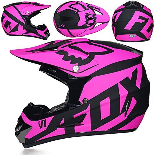 Helmet Motocross Kids Kinderhelm-ECE-Zertifizierung Jugend Quad Crash DH Vollgesichts Offroad Downhill Dirt Bike MX ATV Motorradhelm für Jungen Mädchen,Pink,L