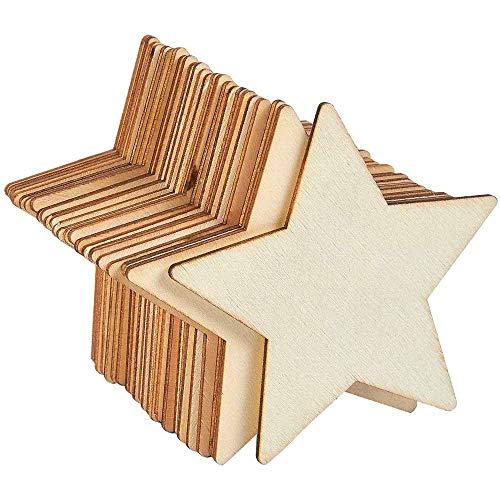 Holzsterne Blank Holz Stern Scheiben, 50 Stücke Mini Stern Verschönerungen für Hochzeit Handwerk Making DIY, 80mm