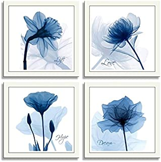 HLJ ART 4 Panels Crystal Theme Giclee Flickering Blue Flowers Printed Paintings on Canvas for Wall Decor (Blue, 12x12inchx4pcs)