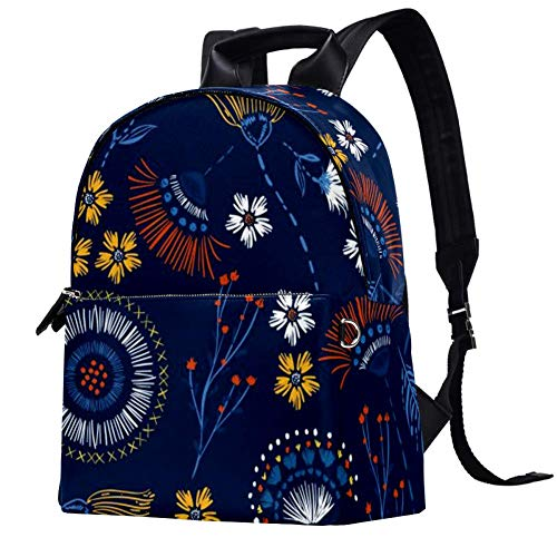 TIZORAX Embroidery Florals Leather Backpacks Casual Daypacks Travel Bags School Bag for Men Women Girls Boys