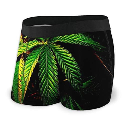 DPQZ Herren Boxershorts Marihuana Weed Grün Cannabis Blätter Unterwäsche Shorts Unterhose Gr. X-Large, Schwarz