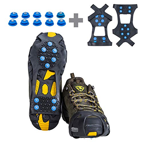 willceal Ice Cleats, Ice Grippers Traction Cleats Shoes and Boots Rubber Snow Shoe Spikes Crampons with 10 Steel Studs Cleats Prevent Outdoor Activities from Wrestling (Blue, Large)