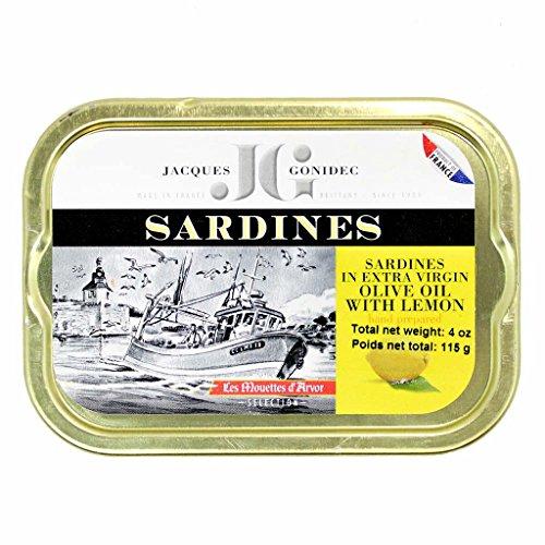 Französische Sardinen mit Zitrone in Olivenöl vierge extra, 115g, Jaques Gonidec