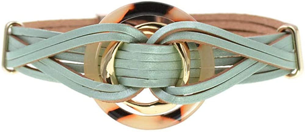 Metal Charm Leather Bracelets Houston Mall Now free shipping For Multiple Men's Women Layers Wr