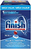 Finish Dishwasher Detergent Soap, All in 1 Powerball, Fresh, Mega Value Pack, 110
