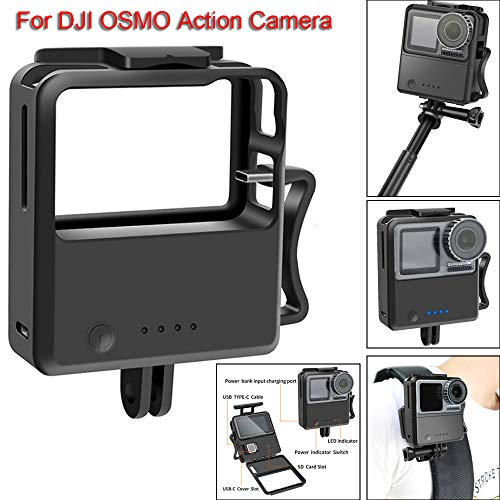Sixcup Power Bank 2600mAh Schnellladung Tragbares Ladegerät für DJI OSMO Action Kamera,Batterie Schnellladegerät Ladegerät für DJI OSMO Action (Schwarz)