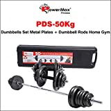 PowerMax Fitness PDS-50KG Adjustable Steel Dumbbells Weight Set with case and Hammer-tone colour