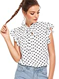 ROMWE Women's Polka Dots Print Casual Short Sleeve Ruffle Trim Bow Tie Blouse Top Shirts White XL